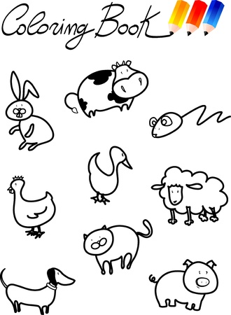 Coloring book for children, farm animals. Illustration