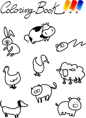 Coloring book for children, farm animals. Illustration