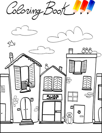 country store: Coloring book for children, street. Illustration