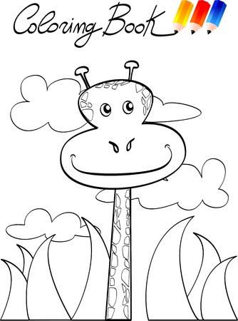 Kleurboek voor kinderen, giraffe. Vector image