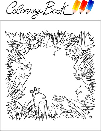 Coloring book for children, jungle. Vector