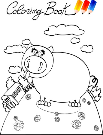 Coloring book for children, pig. Stock Vector - 9893104
