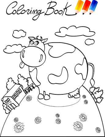 Coloring book for children, cow. Vector image Stock Vector - 9804853