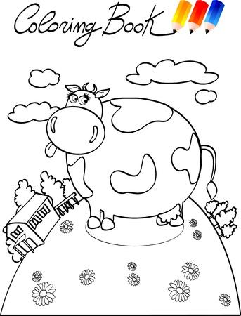 Kleurplaat boeken voor kinderen, koe. Vector image Stock Illustratie