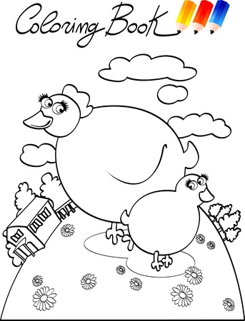 Coloring book for children, chicken. Vector image Stock Vector - 9804852