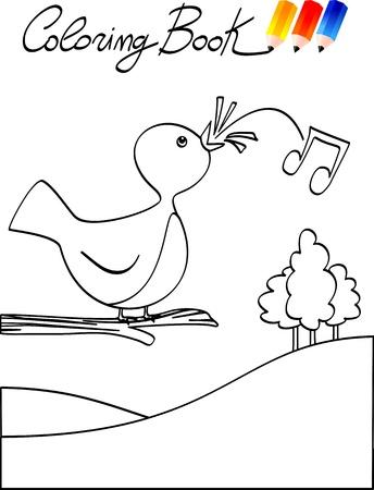 Coloring book for children, bird. Vector image Vector