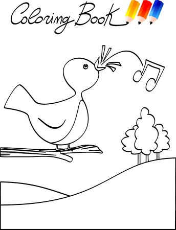 whistling: Coloring book for children, bird. Vector image
