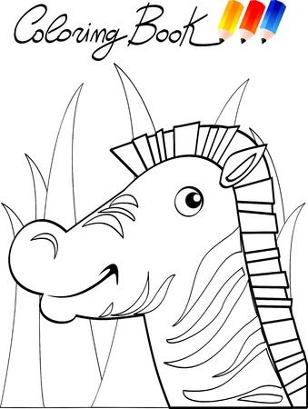 Coloring book for children, zebra. Vector image Vector