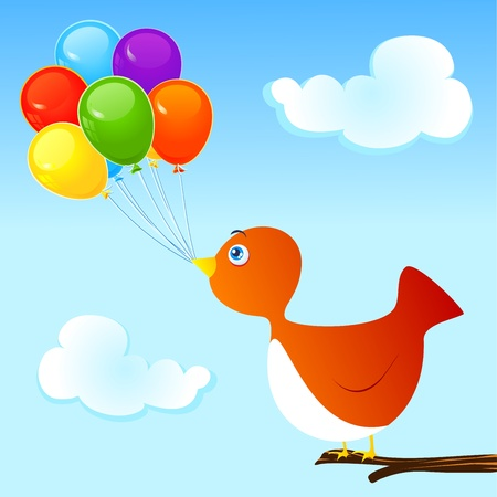 Bird and group of colorful balloons Vector