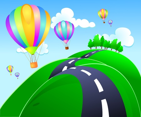 cartoon summer: A group of hot-air balloon lands on the hills Illustration
