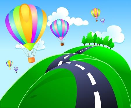 ballon dirigeable: Un groupe de ballon � air chaud des terres sur les collines