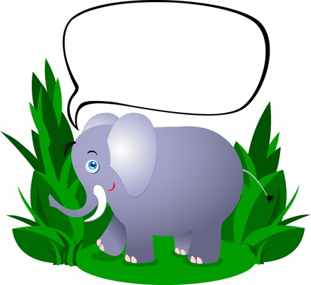 vegetation: Cute elephant and white space