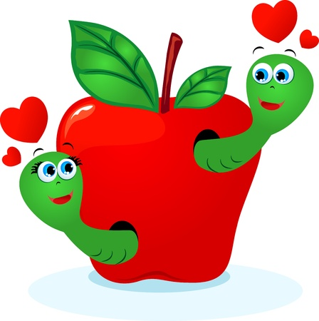 Tender love worms in an apple. Vector