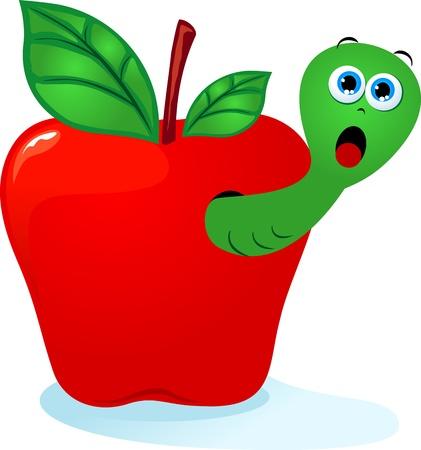 apple and worm Illustration