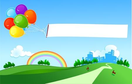 Balloons dragging a banner above the meadows
