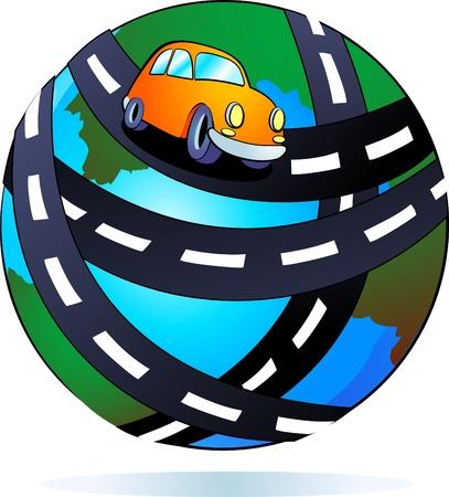 planet car: highway around the world Illustration