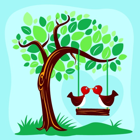 Two birds kissing on a swing Vector