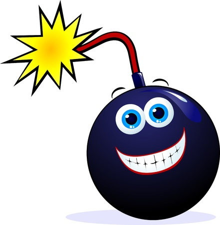 Funny bomb with grin Vector