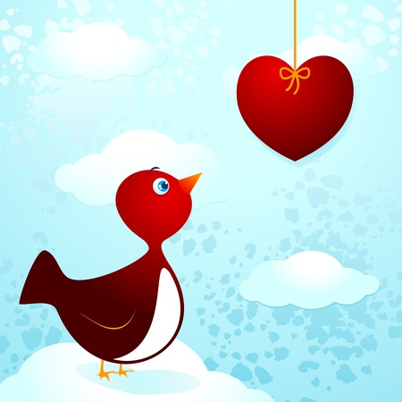longing: Cute bird in love
