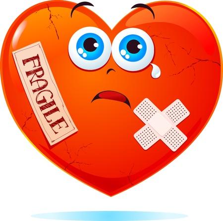 corazon roto: Coraz�n roto con la etiqueta fr�gil Vectores