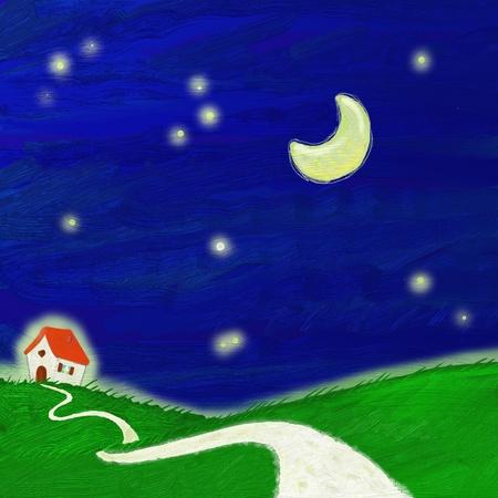 nocturnal: Digital painting of nocturnal landscape