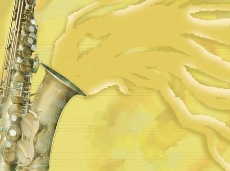 Saxophone background in yellow , horizontal version photo