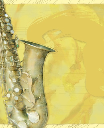 saxophonist: Saxophone background in yellow , vertical version