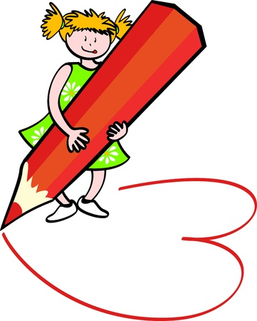 Girl with a huge pencil drawing Stock Vector - 9934037