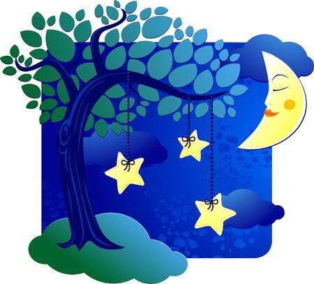 star and crescent: Paisaje surrealista con �rboles y estrellas en la noche Vectores