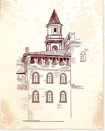Vintage background with medieval village Vector