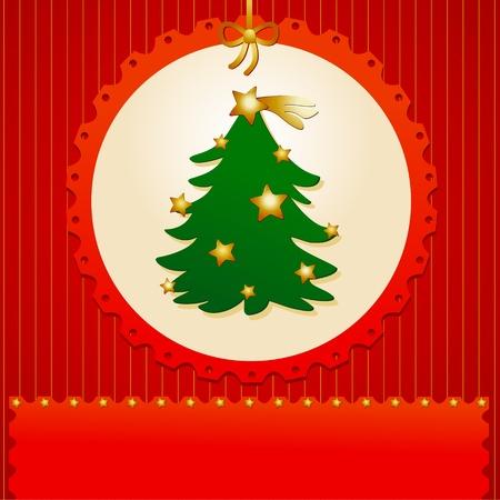 customizable: Christmas background customizable with christmas tree, vector Illustration