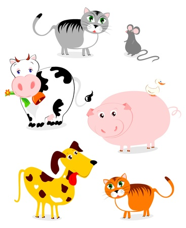 animal shelter: depicting some funny pets and farm  Illustration