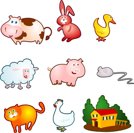 the hutch: funny farm animals Illustration