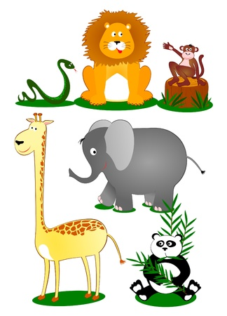 Set wildlife comic style, vector  Vector