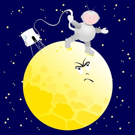 conquistando: Ilustraci�n del vector que representa a un astronauta, mientras que la conquista de una luna hostil