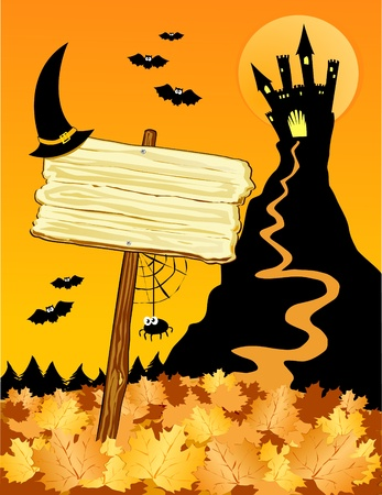 Vector illustration on the Halloween theme, depicting a castle on the hill in the foreground and a custom folders backed with a witch