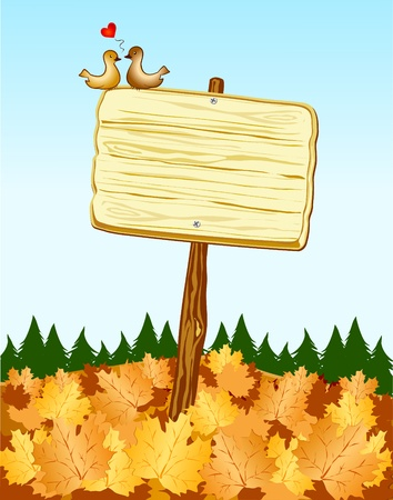 cartoon autumn: Vector illustration depicting a wooden sign planted outside in a meadow covered with dry leaves. Two love birds are resting on. Illustration