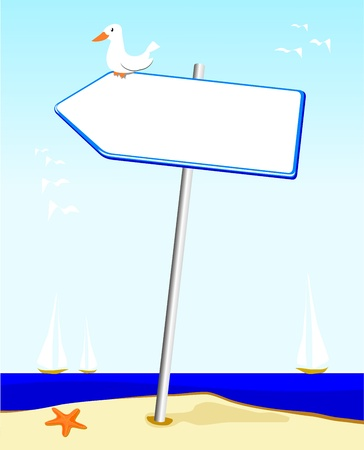 Vector illustration that depicts an anonymous sign-shaped arrow planted on the shore of the Sea.  Vettoriali