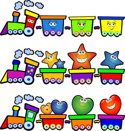 cartoons: Nice trains loaded with stars, hearts and smiles. Vector