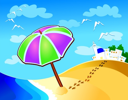 footprints in sand: Seascape, beach, sea and beach umbrella. Vector Illustration