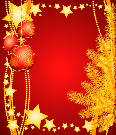 Christmas background with Christmas ornaments and tree. Vector illustration Stock Vector - 10069939
