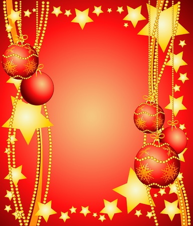 Christmas background with Christmas ornaments. Vector illustration