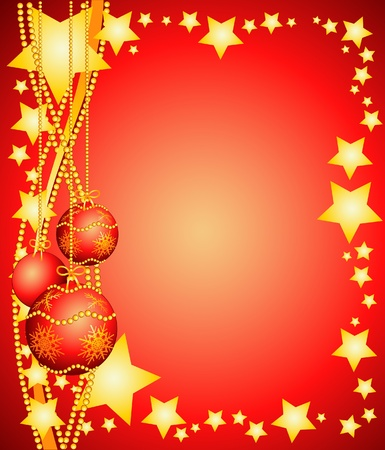 Christmas background with Christmas ornaments. Vector illustration  Illustration