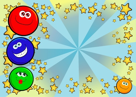 decorative background with funny smiley faces. Vector  Vector