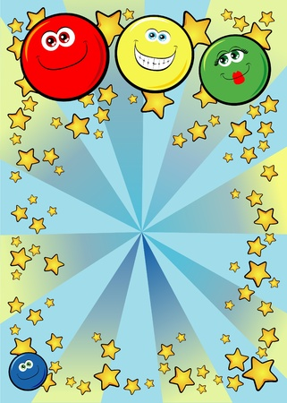 decora: decorative background with funny smiley faces. Vector