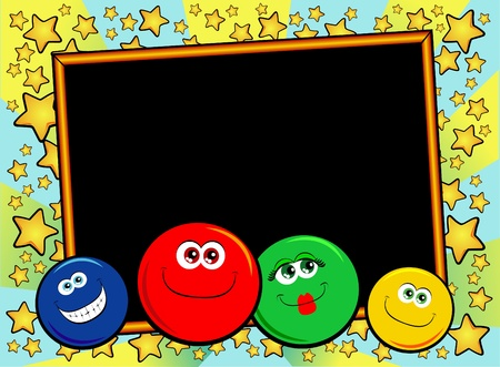 star cartoon: Background decor personalized with funny smiley faces. Vector