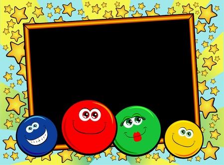 estrella caricatura: Decoración de fondo personalizado con caras sonrientes divertidas. Vector