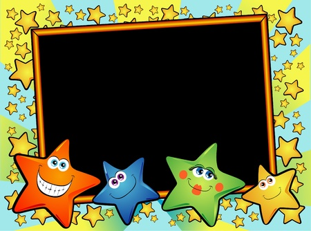 Background customizable with vector blackboard and smiling stars Stock Vector - 10069954