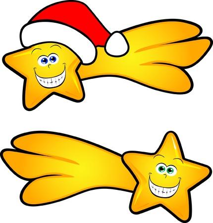 estrella caricatura: Niza cometa sonriente, también está disponible con sombrero de Navidad. Vector Vectores