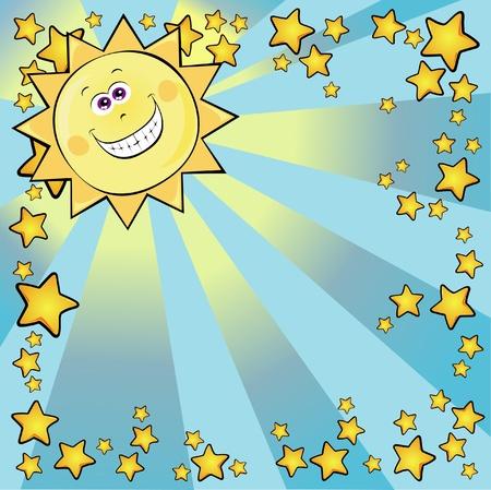 Sun square background, vector Vector